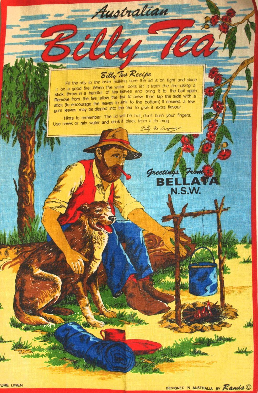 Billy Tea Jolly Swagman Australian Tea Towel Czech Linen Waltzing