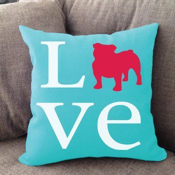 """Our Bulldog Love pillow is 16"""""""" x16"""""""" in size with zipper cover. Printed on both sides. Made in USA. Spot clean."""