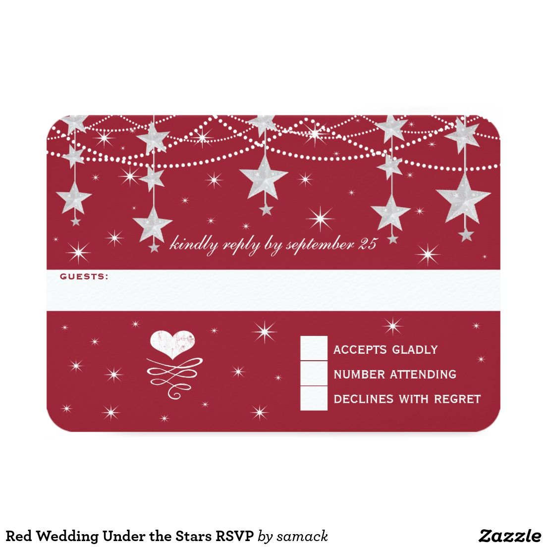 Red Wedding Under the Stars RSVP Card | WINTER WEDDING Invitations ...