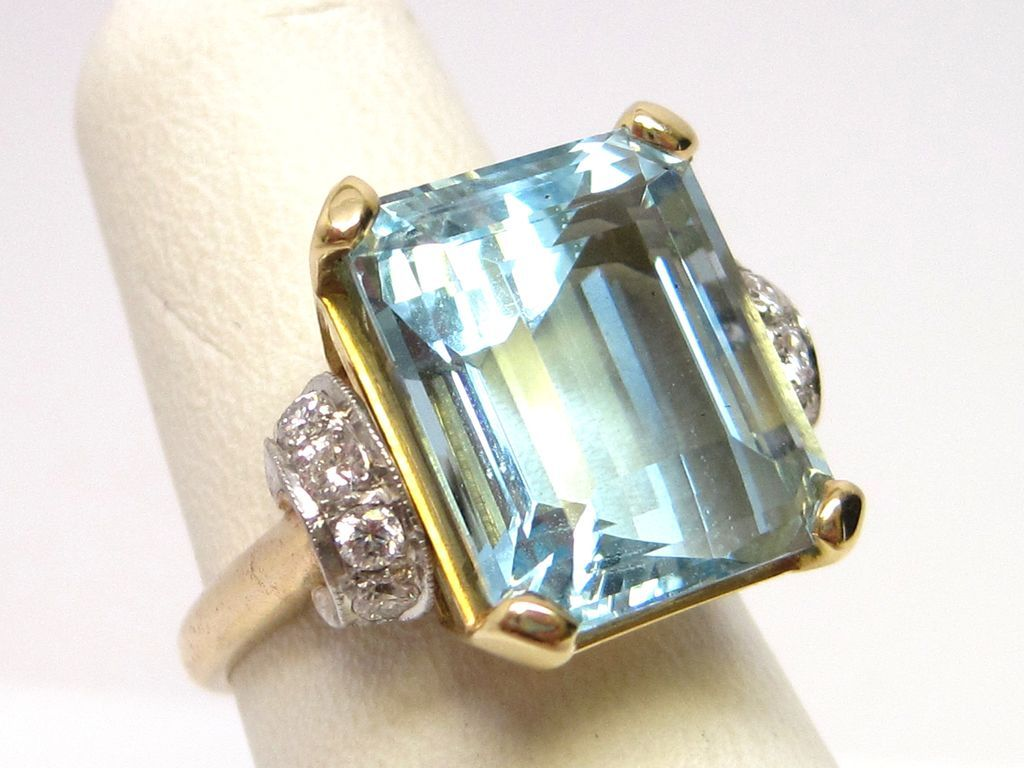 Preferred Vintage 1950s Platinum & 14K Gold Aquamarine Ring | Aquamarines  GL93