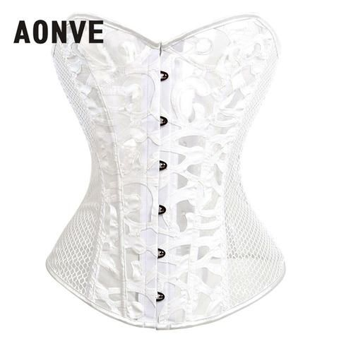Gothic Corsets And Bustiers Mesh Hollow Out Steampunk Corset Belly Slimming  Sheath Sexy Lingerie Corsage Bodice Straitjacket 3ad07eb7158d