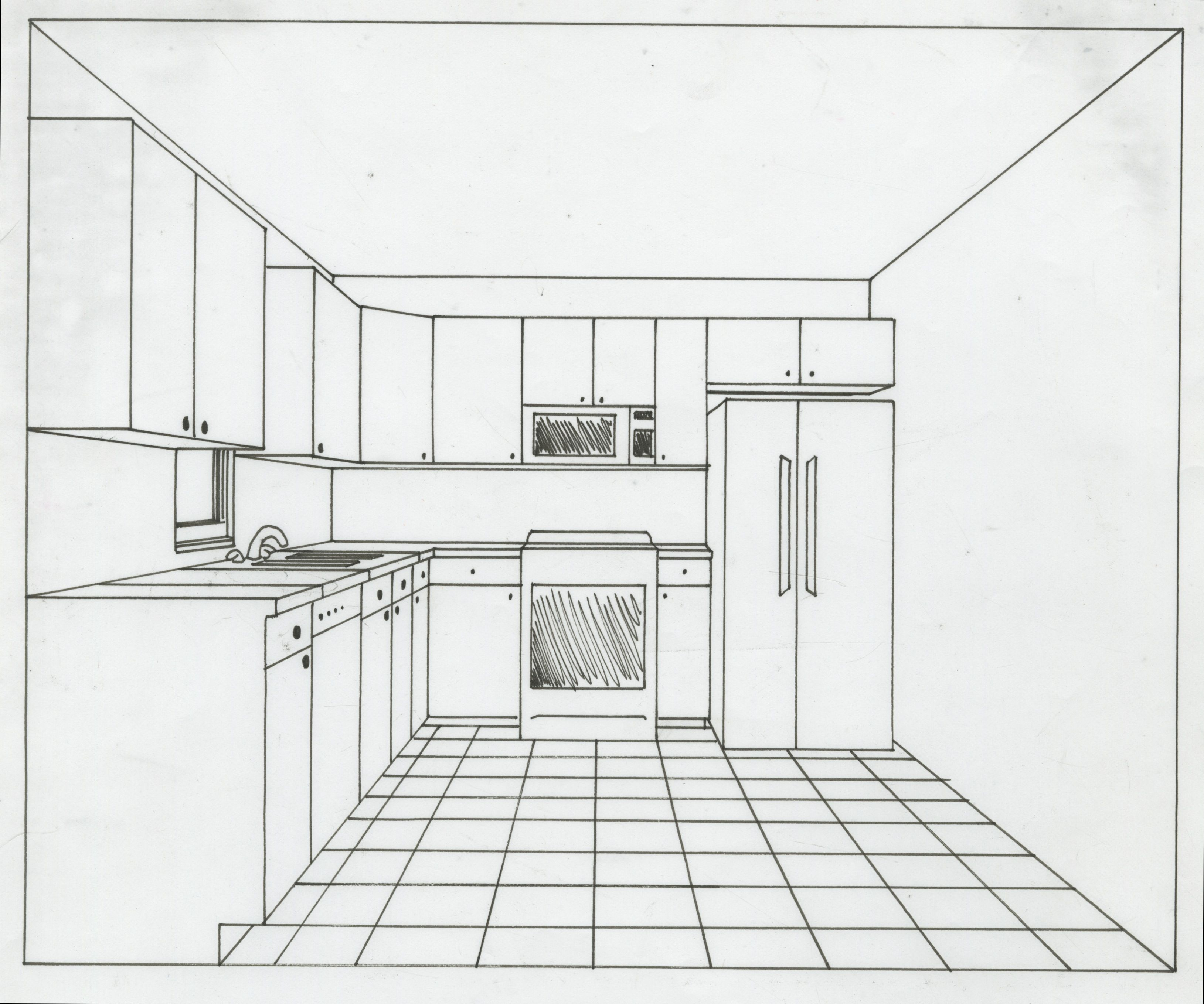kitchen drawing perspective. Brilliant Kitchen 1pointperspectivekitchenjpeg 32582718 In Kitchen Drawing Perspective