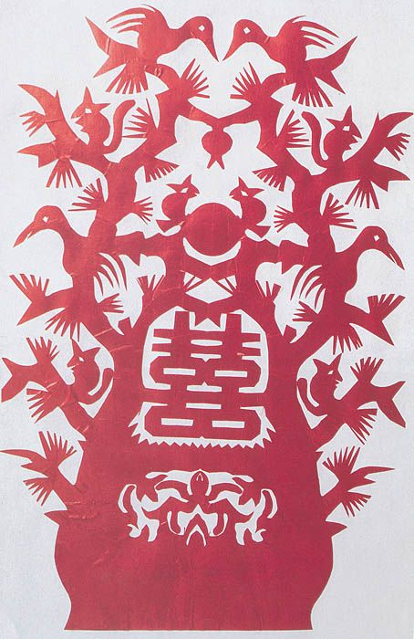 Anonymous, The Tree of double joy, Suang si. Paper window decoration for a wedding, Tao-Yuan county, Hunan province.