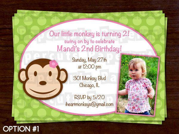 Monkey girl theme birthday party invitation pink green monkey girl theme birthday party invitation pink green personalized printable diy digital file filmwisefo Choice Image