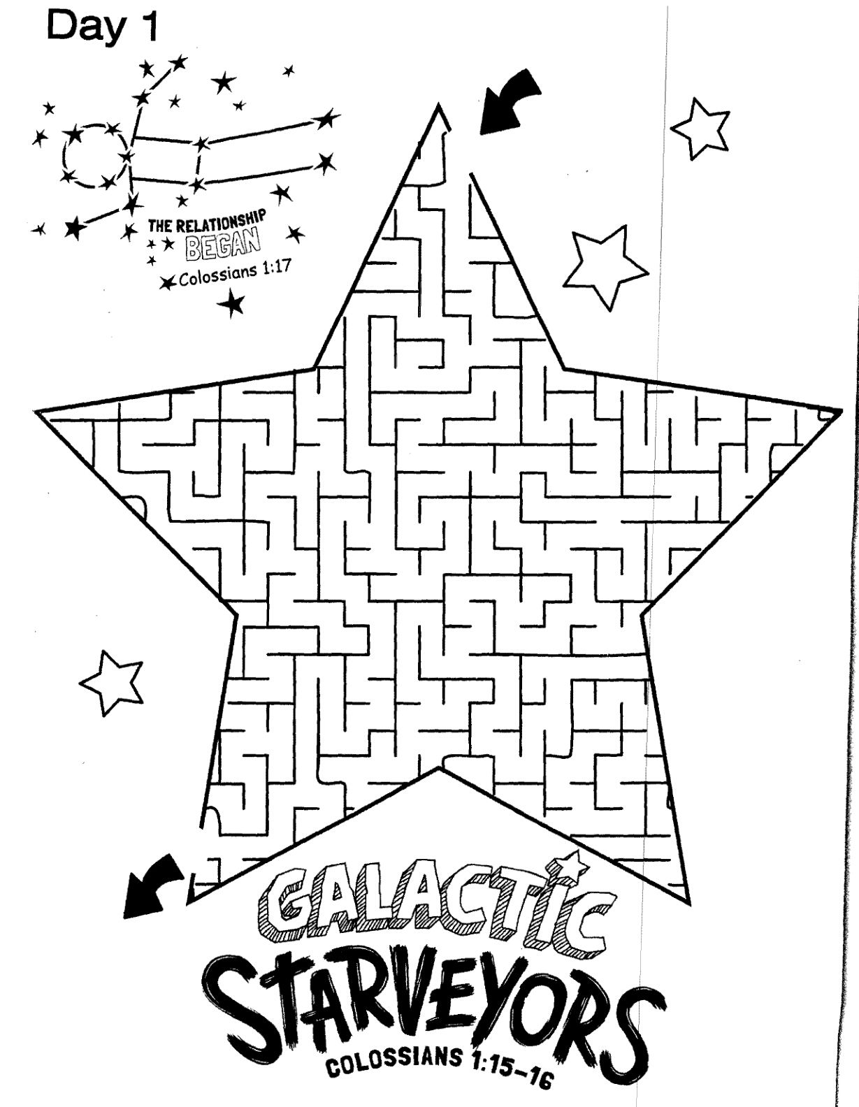 Galactic Starveyors Coloring Sheet Vbs Day 1