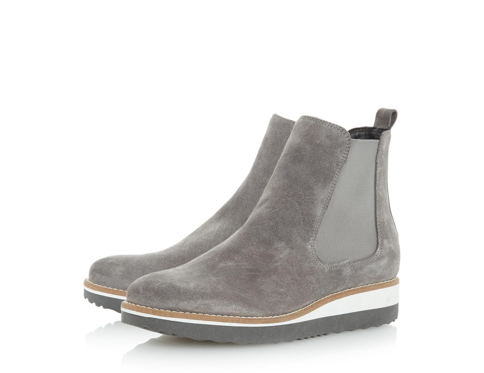 PONTOW - Flatform Chelsea Ankle Boot - grey   Dune London