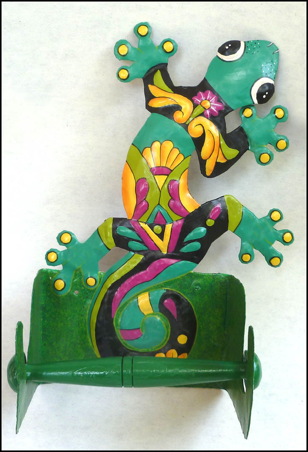 Toilet paper holder hand painted metal gecko tropical art
