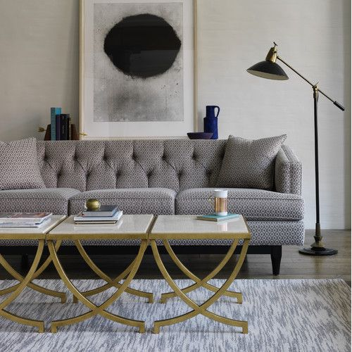 Dwellstudio Haviland Modern Side Table Antique Gold Grey Sofa Living Room Furniture Living Room Accent Tables