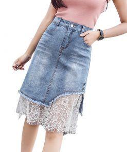 2018 Fashion Denim Skirts Women Summer Lace Mesh Patchwork Skirts Womens Harajuku boho Plus Size Jeans faldas mujer jupe femme