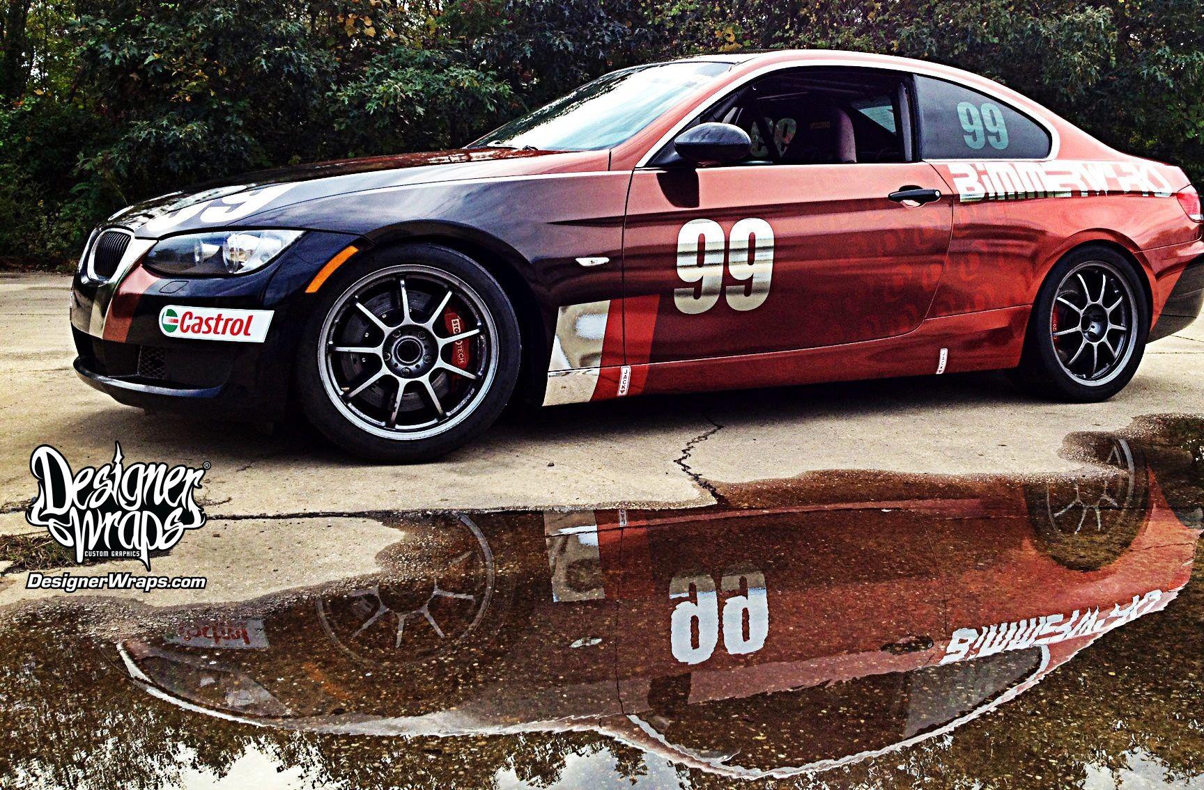 BMW Race Car Custom Faded Chrome Wrap Chrome Wraps Pinterest - Vinyl decals for race carsbmw race car wraps by graphios