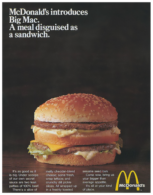 Mcdonald S Advertisement From 1969 The Big Mac Introduced In Metro Pittsburgh Pa In 1967 And Then U S Nationwide In 1968 And The Food Ads Big Mac Food