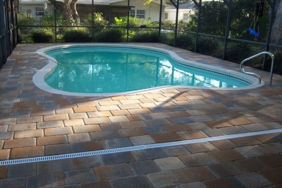 Decko drain brick paver showroom of tampa bay - Swimming pool deck drain channels ...