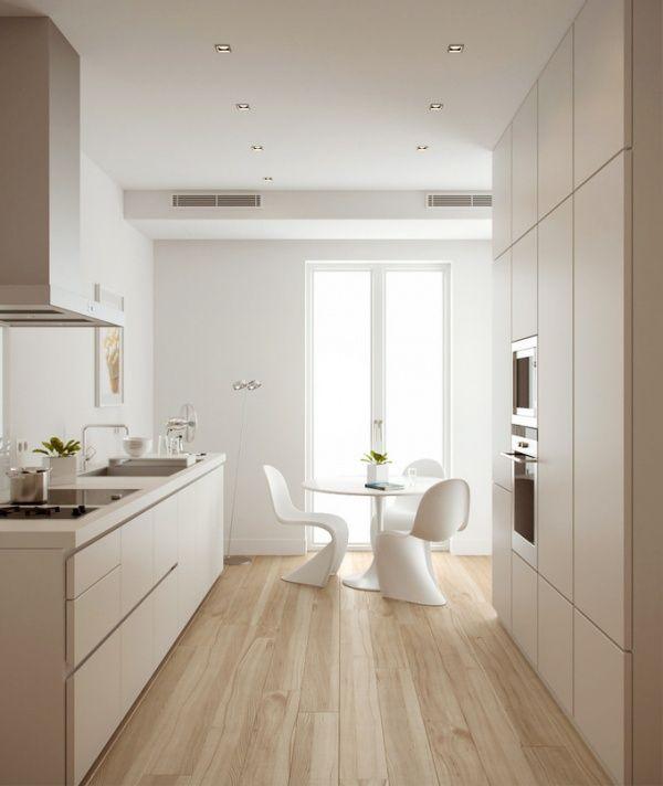 Weisse Minimalistische Küche Und Heller Parkettboden