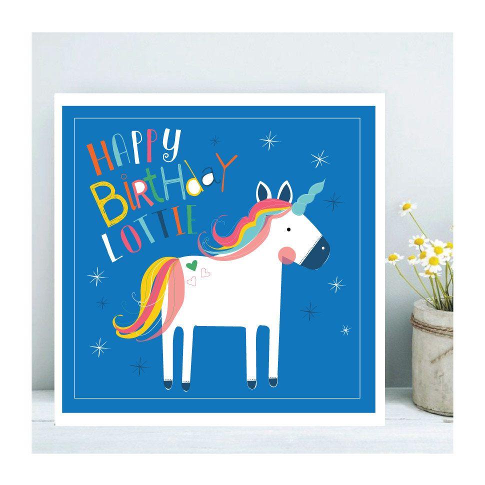 Unicorn Birthday Card Personalised Birthday Card Girls Greetings