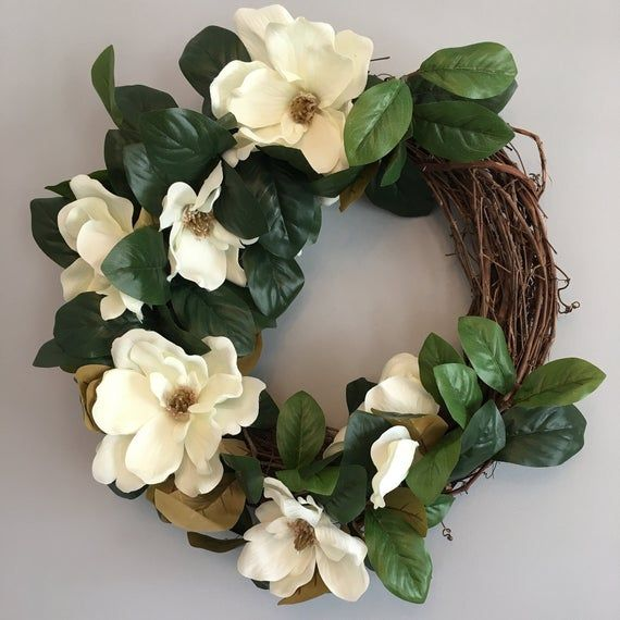Photo of Magnolia Wreath – Farmhouse Wreath – Magnolia Bloom Wreath – Southern Wreath – Modern Farmhouse Decor – Southern Style – Magnolia Flower