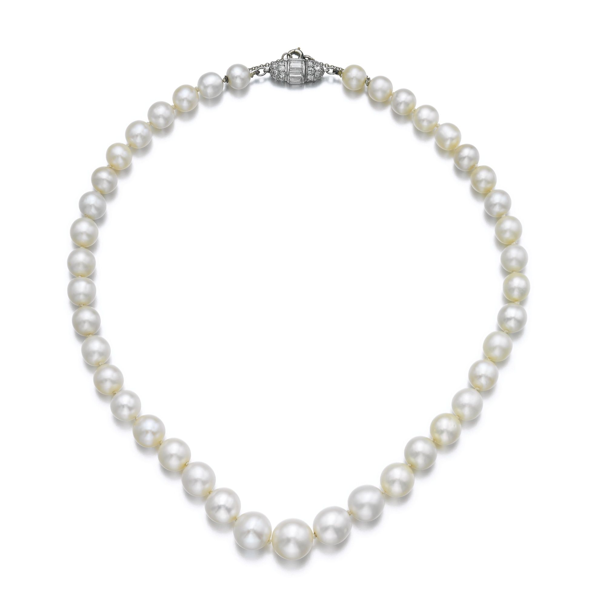 Natural pearl and diamond necklace, Chaumet | lot | Sotheby's