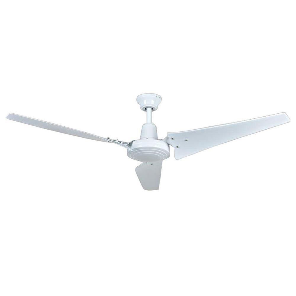 Hampton Bay Industrial 60 In Indoor White Ceiling Fan With Wall Control Ceiling Ceiling Fan White Ceiling Fan Ceiling