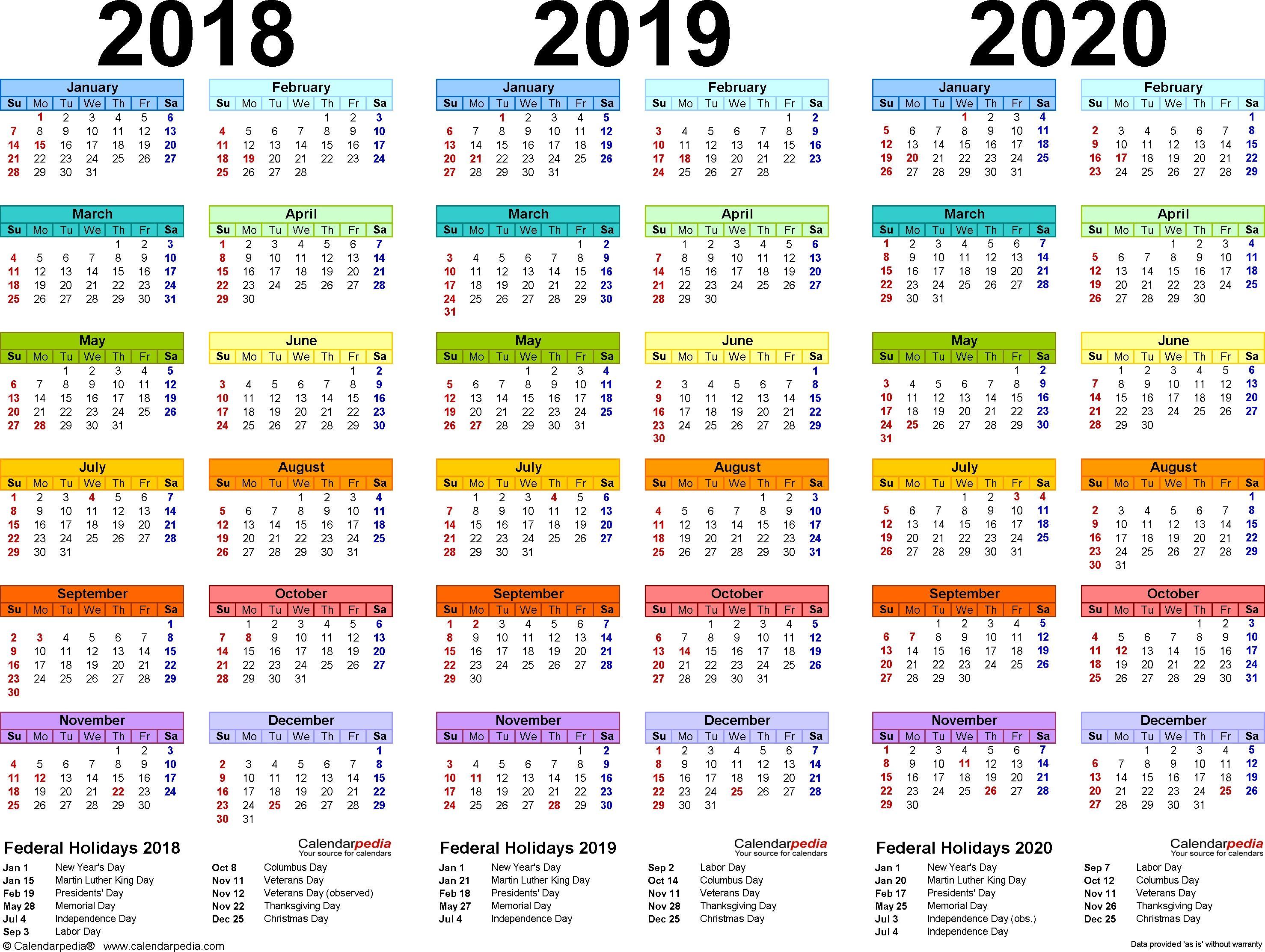 2018 2019 2020 Calendar 4 Three Year Printable Pdf Calendars Dowload Printable Calendar Template Calendar Template Calendar 2019 Template