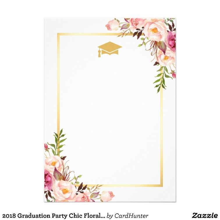 Photo of 2019 Graduation Party Chic Floral Golden Frame Invitation   Zazzle.com ,  #Chic #Floral #Fram…