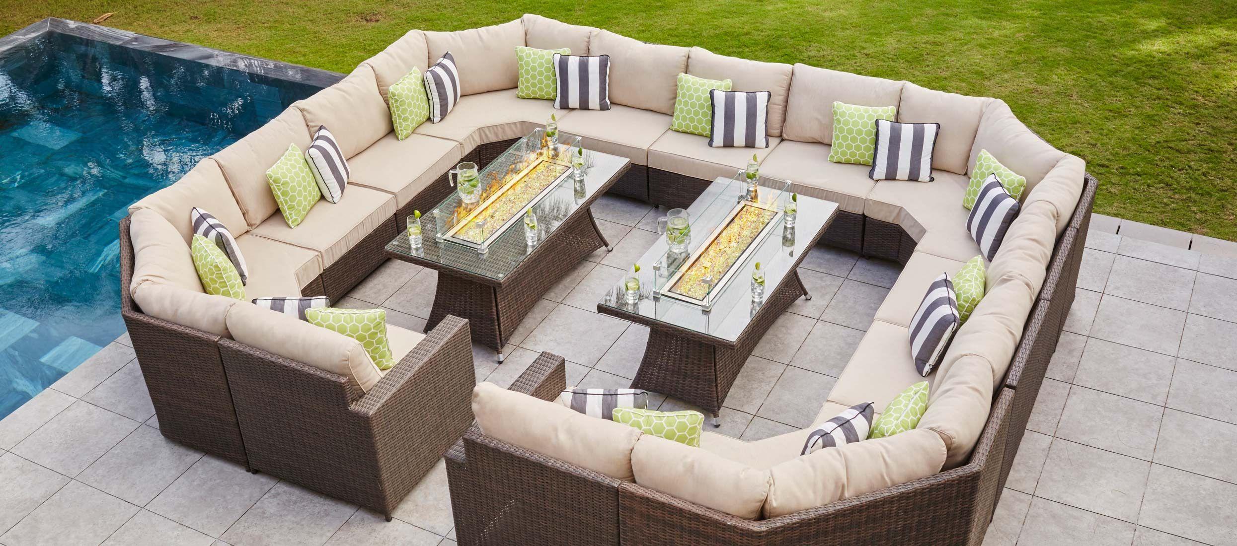 Halo 6E - U Shaped Angled Sofa With 2 x Gas Fire Pit ...