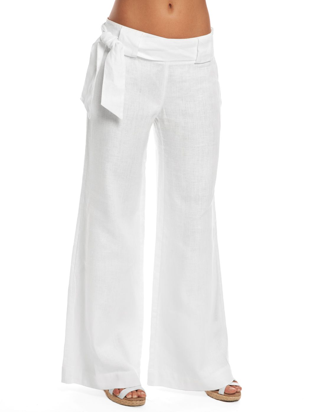 3ea5174c26 Our White Pirate Palazzo Pant emanate casual island elegance with soft linen  and a flattering wide leg! Wear these white linen pants on your next  getaway!
