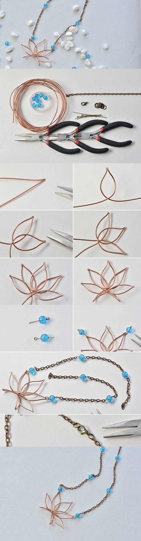 DIY Wire Wrapped Lotus Pendant Necklace with Chain and Beads | Wire ...