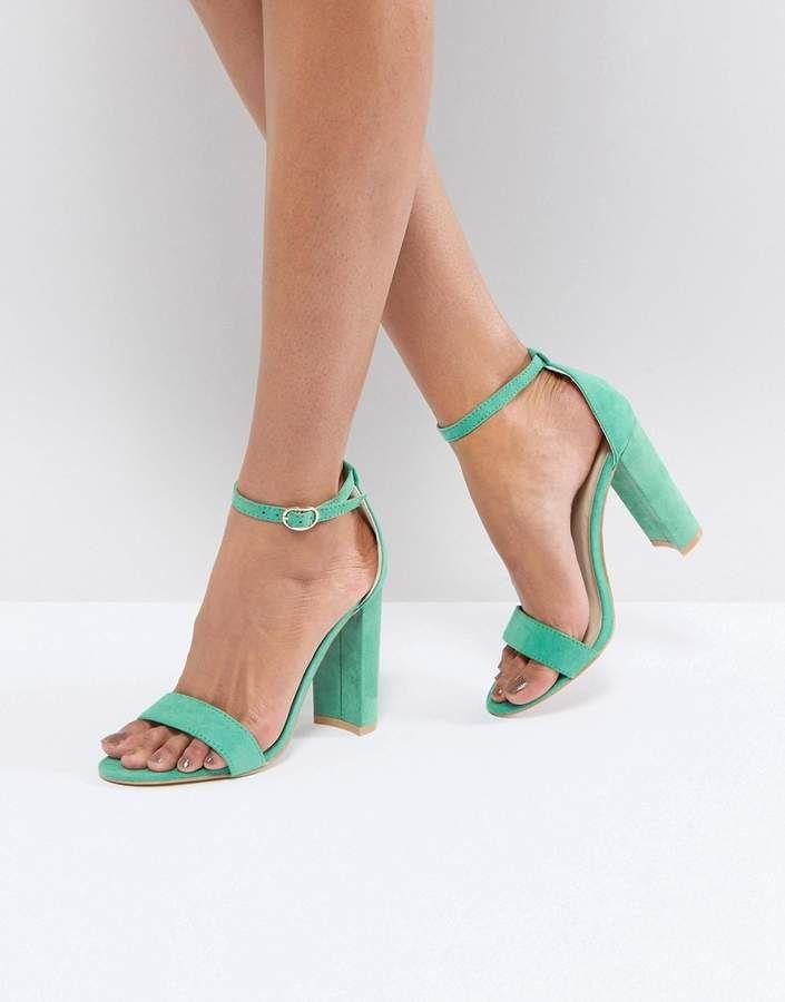 Metallic Green Barely There Block Heeled Sandals - Green metallic Glamorous Lowest Price Cheap Price WBdihtPuO