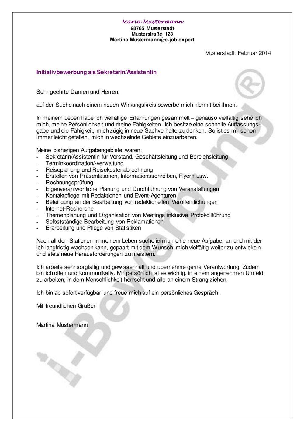 Initiativbewerbung Als Sekretarin Assistentin Beispiel In 2020 Bewerbung Anschreiben Muster Bewerbung Anschreiben Bewerbung