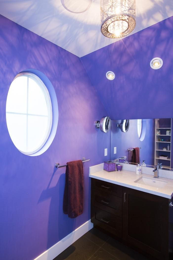Great color and design in this custom girls bathroom.