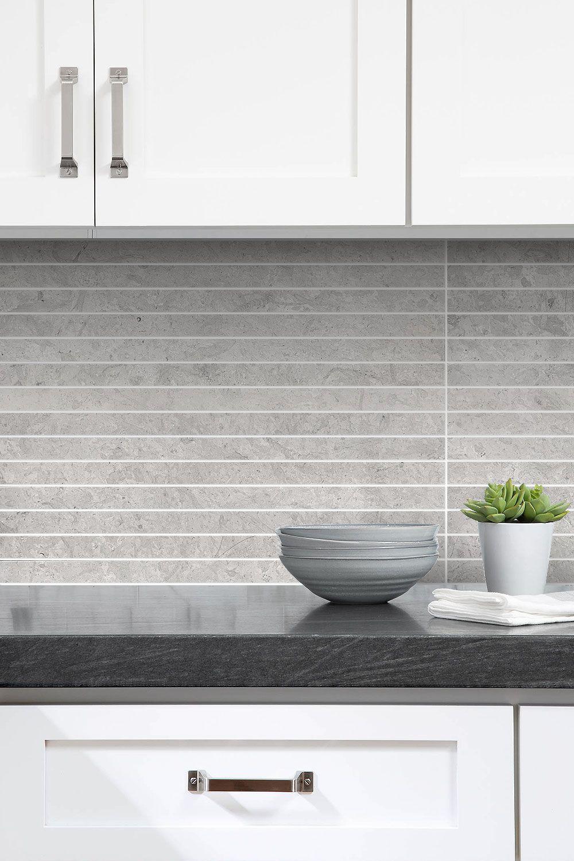 Modern Light Gray Subway Backsplash Tile Contemporary Design In 2021 Backsplash Kitchen White Cabinets Modern Kitchen Backsplash Kitchen Backsplash Designs