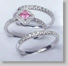 Pink Sapphire Engagement Ring And Diamond Wedding Bands