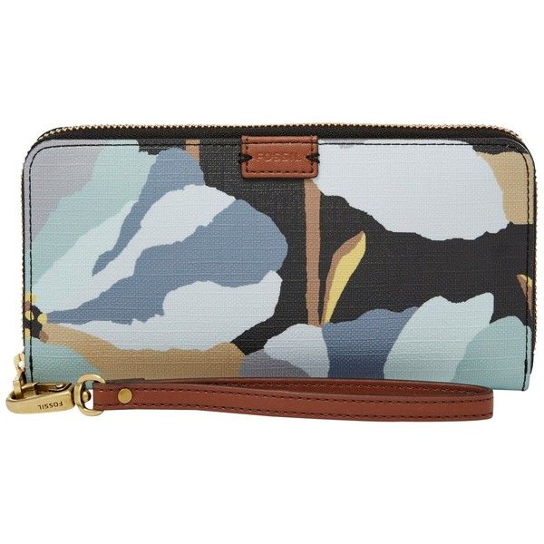 Fossil Emma Large Zip Clutch Bag (£65) ❤ liked on Polyvore featuring bags, handbags, clutches, dark floral, evening handbags, leather clutches, man bag, fossil purses and fossil wristlet
