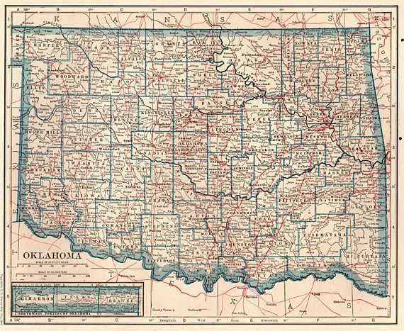 1922 Antique OKLAHOMA State Map Vintage Oklahoma Map Print