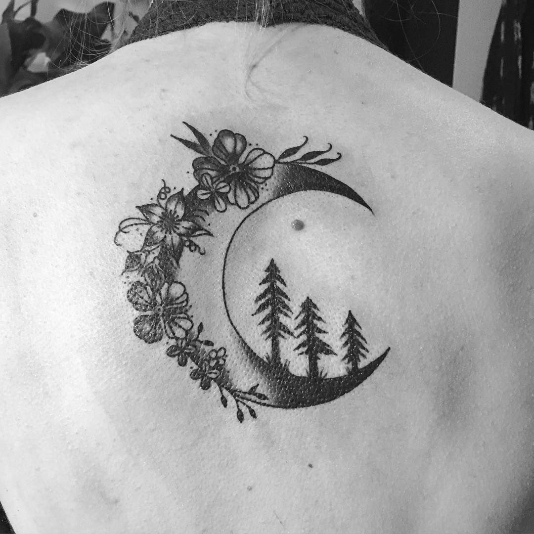 Flowers And Trees On The Moon Tattoo Venice Tattoo Art Designs Moon Tattoo Designs Moon Tattoo Tattoos
