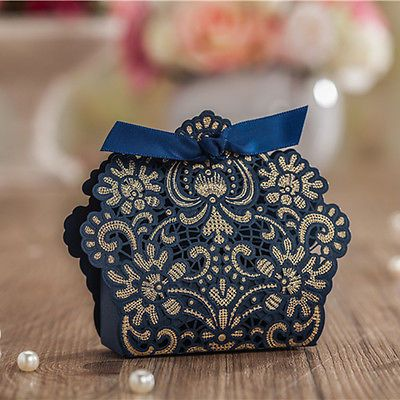 Luxury Navy Blue Laser Cut Wedding Favour Bo Party Gift Candy Bags