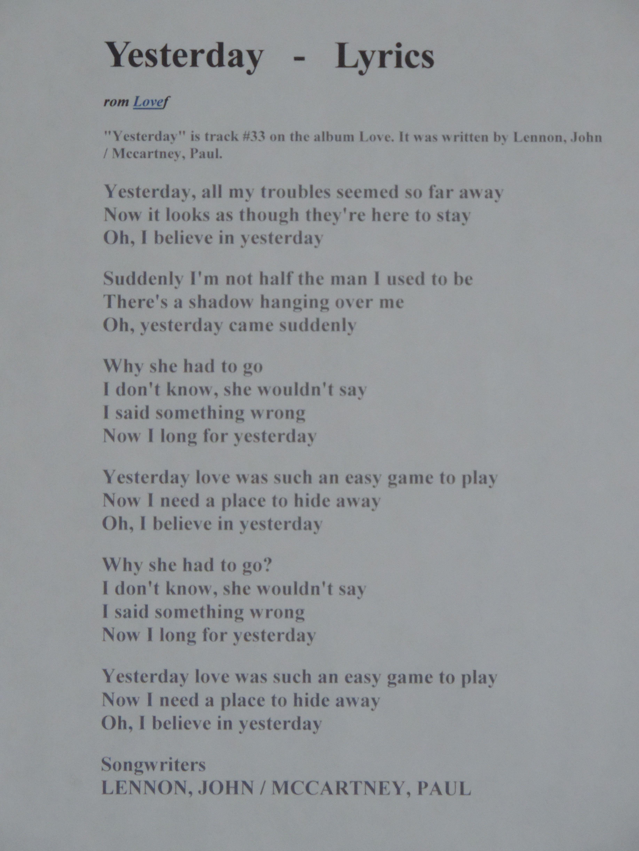 beatles lyrics yesterday - HD3672×4896