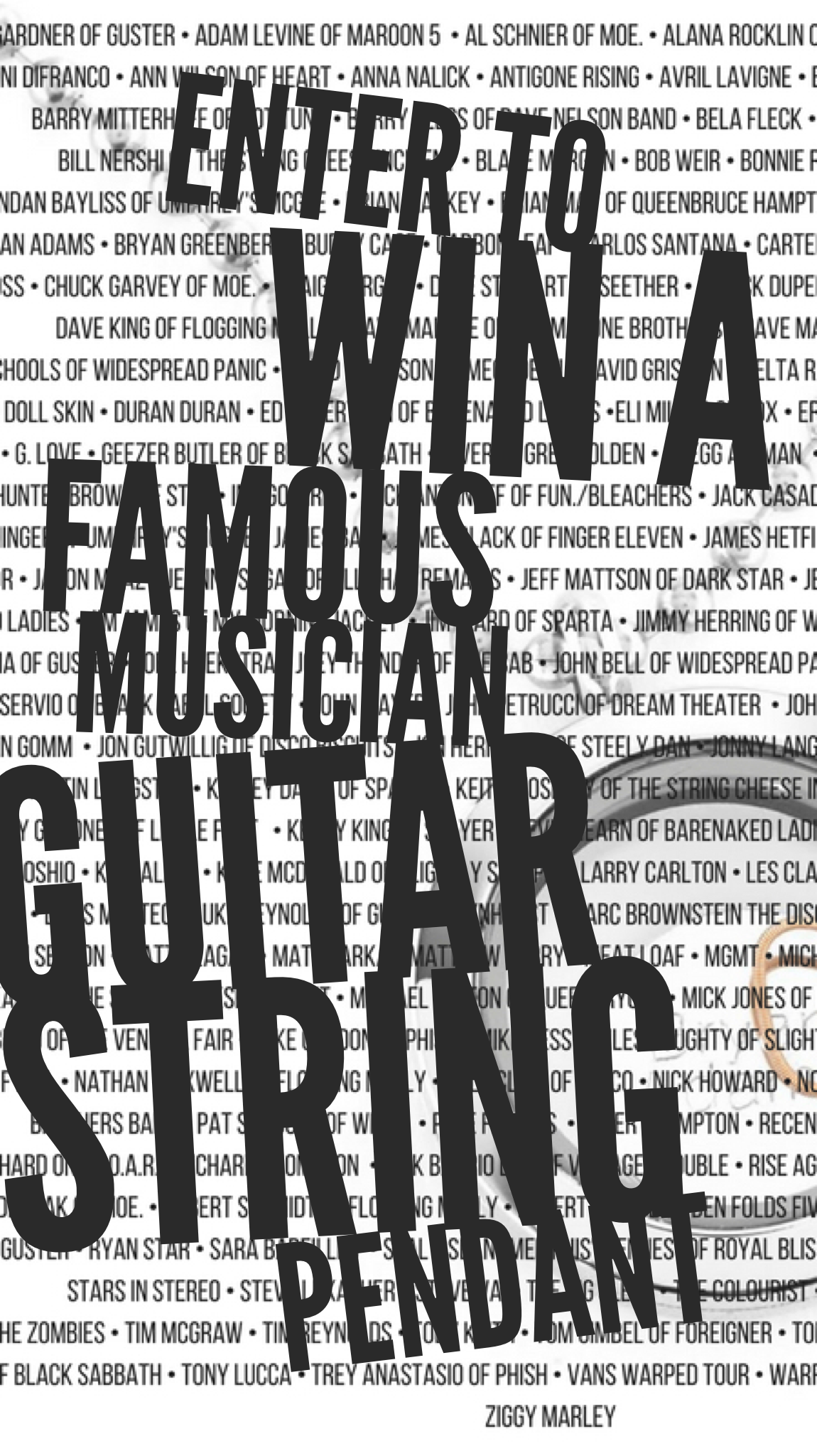 Enter To Win A Famous Musician Guitar String Pendant Over 180