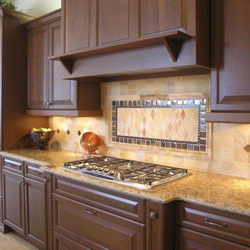 Patterned Kitchen Backsplash Designs With Brown Kitchen Cabinets 5