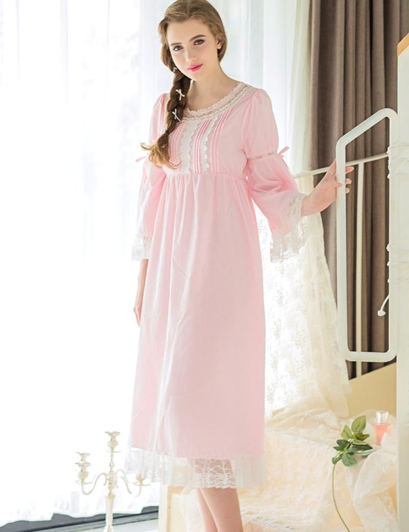 Round Neck Lace Sleepwear Pink White Color Nightgowm Viscose Fiber $43.85 => Save up to 60% and Free Shipping => Order Now! #fashion #woman #shop #diy www.homeclothes.n...