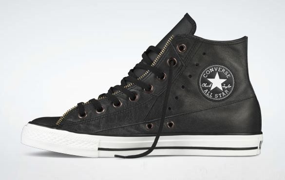 black and white leather converse