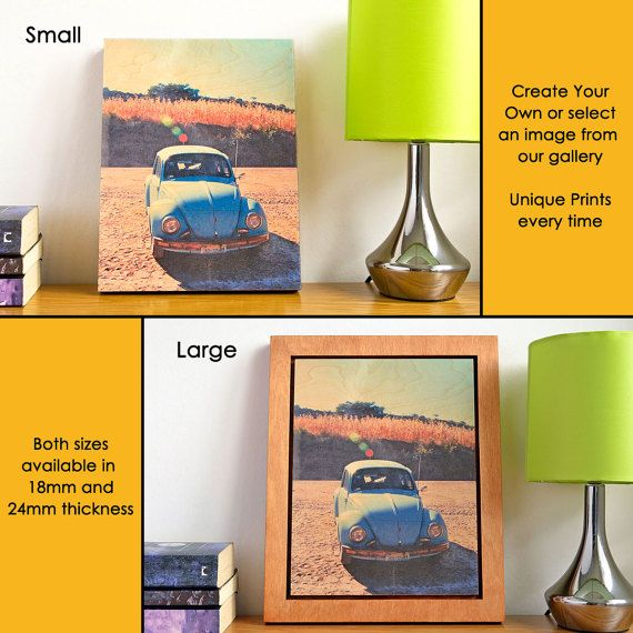 From £40.00 Custom Wall Art  Prints on Wood  Retro VW Beetle by #AWoodStoryUK on #Etsy. #whatsyourstory