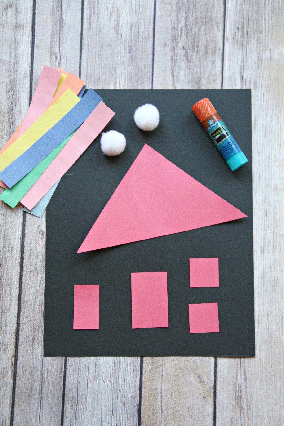 Colorful Shape House Craft Kindergarten 1st Art Crafts