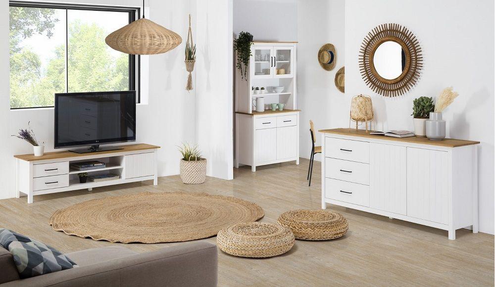 Buffet Orcades Bois Et Blanc Pas Cher Buffet But Iziva Com Mobilier De Salon Decoration Maison Meuble Pas Cher