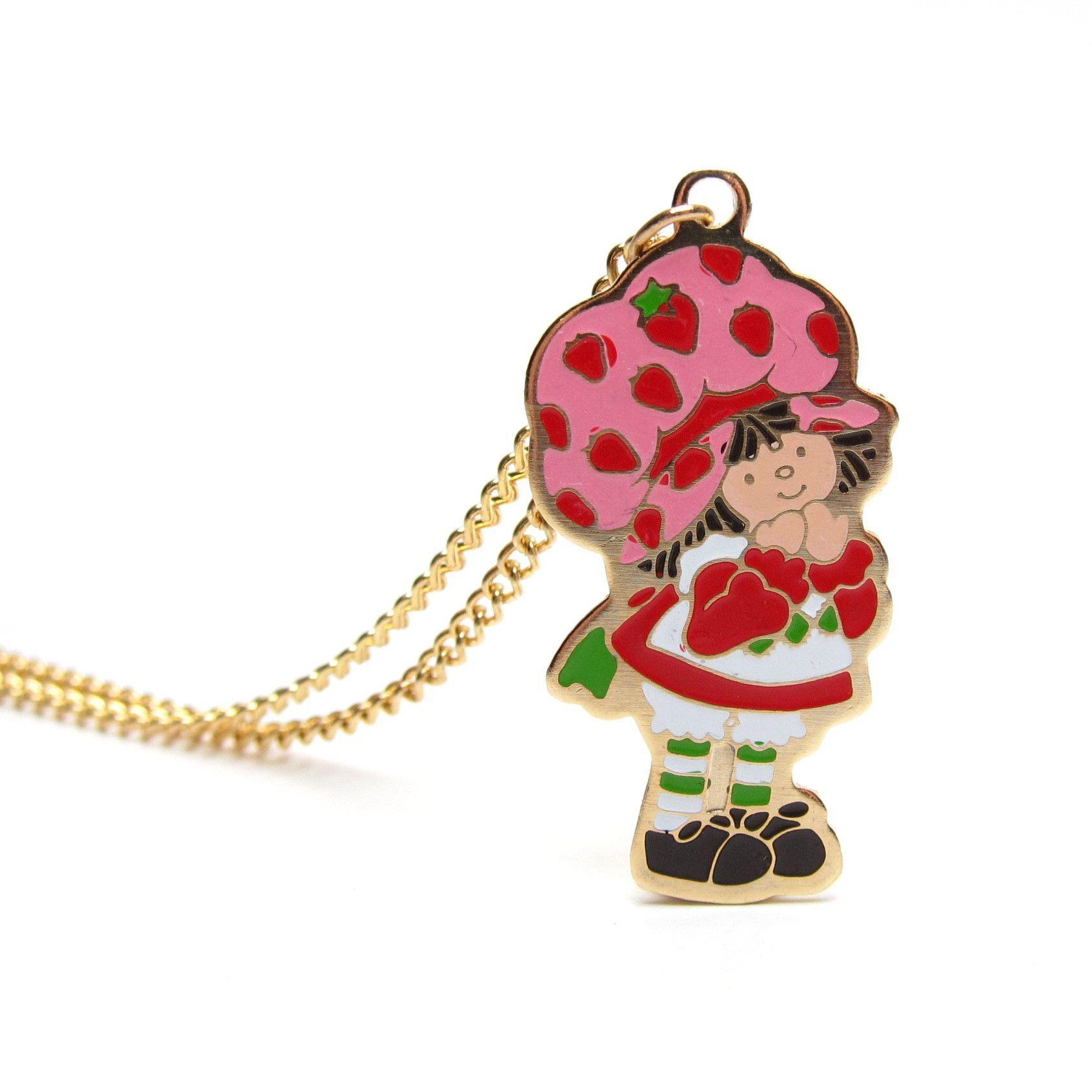 Strawberry Shortcake Necklace Gold Enameled Charm On Chain