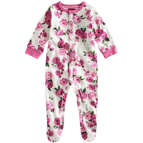 Baby Joule Razmataz Floral Sleepsuit, Pink (62 BRL) ❤ liked on Polyvore featuring baby, kids, baby clothes, girls and baby girl