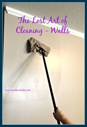How to's : Good ideas! I like to dust the walls with an extendable duster. Then I like to use a Swifter or Clorox base with a microfiber cloth attached and use a natural cleaning solution. I like vinegar/dish soap/water mixture with EO of choice.