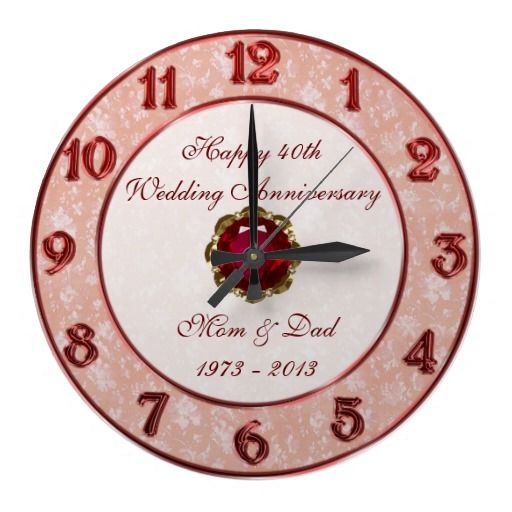Damask 40th Wedding Anniversary Clock Zazzle Com Anniversary Clock 55th Wedding Anniversary 40th Wedding Anniversary