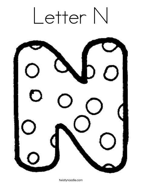 Letter N Coloring Page Twisty Noodle Alfabe Sablonlari Alfabe