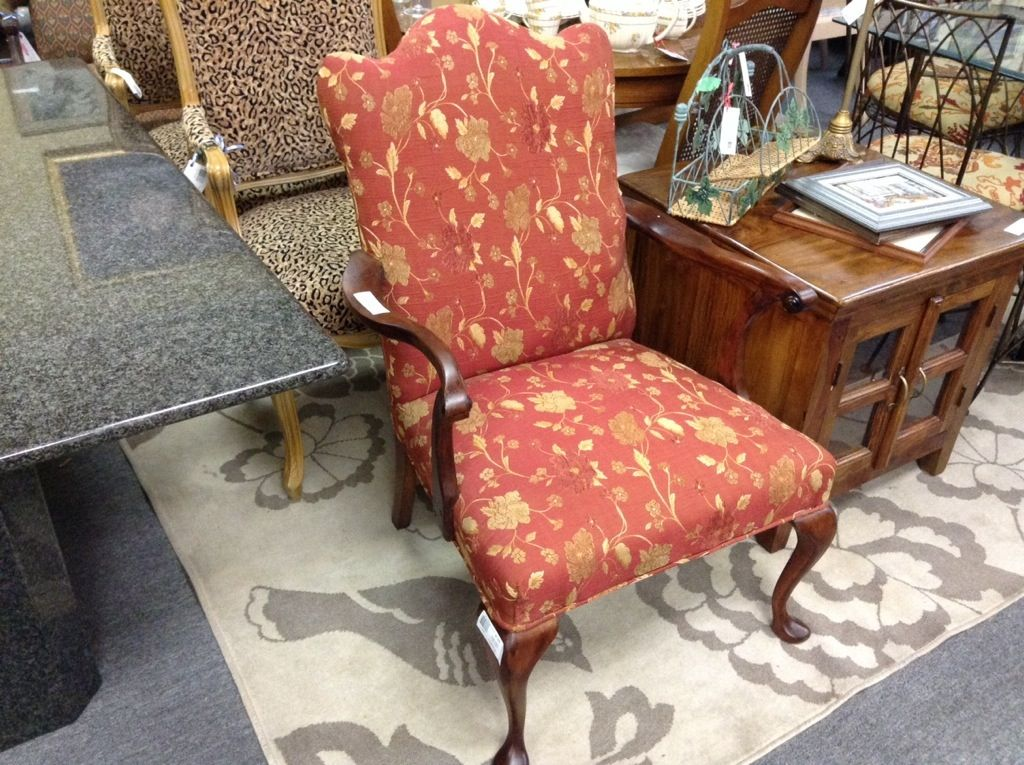 Reupholstered High Back Chair   Fantastic Fabric, Nice Queen Anne Style  Legs. Item 249