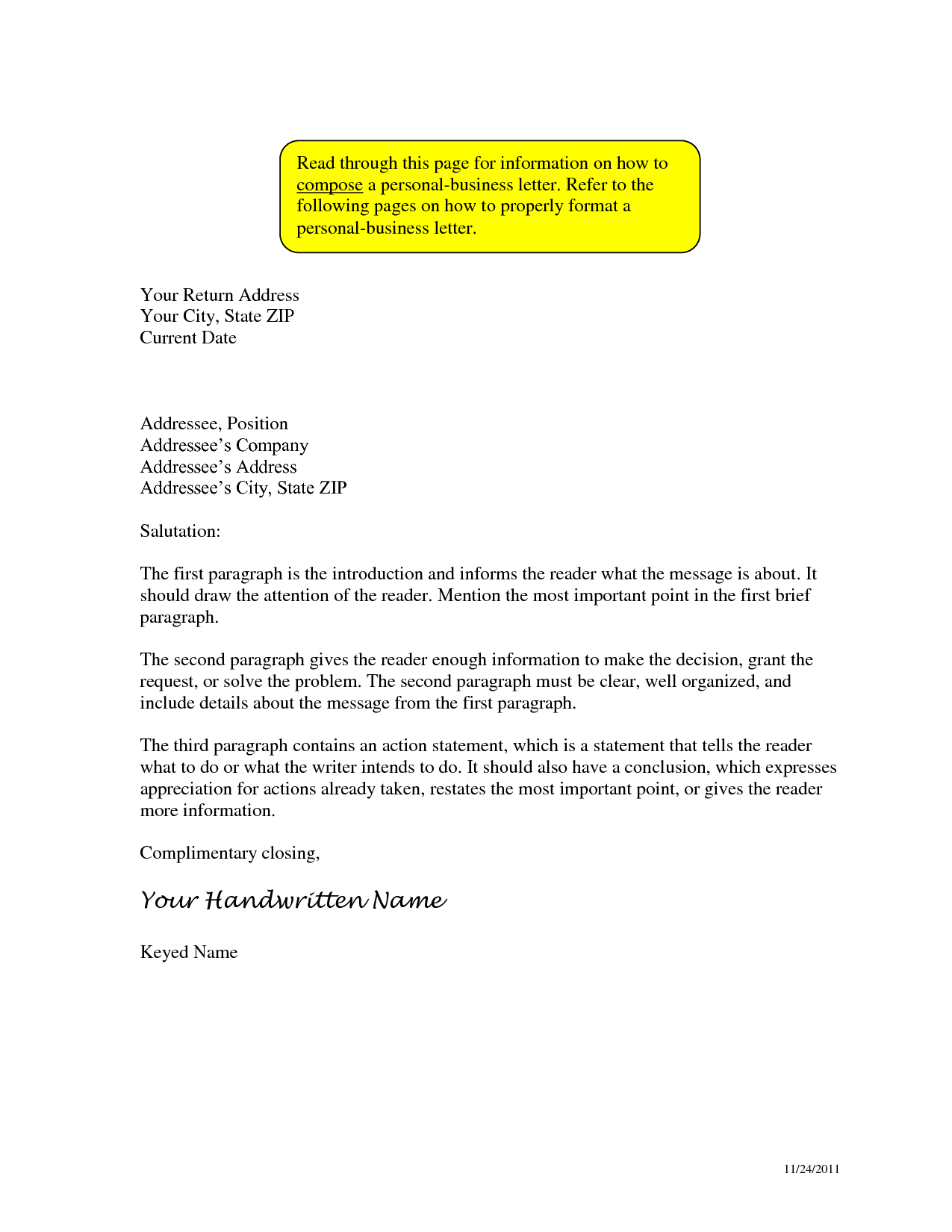 business letter format inside address personal the writing